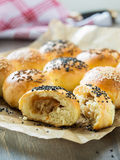 Homemade tasty cabbage buns with sesame and cumin Royalty Free Stock Image