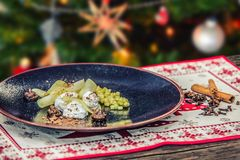 Homemade tasty christmas delicacy with apples and cinnamon.  Royalty Free Stock Photography