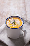 Homemade tasty creamy pumpkin soup puree in a bowl Royalty Free Stock Images