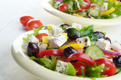 Homemade tasty delicious greek salad Stock Photography