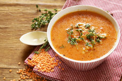 Homemade tasty red lentil soup Stock Photography