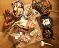 Homemade Tasty Tapas on Wooden Table Royalty Free Stock Photo