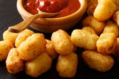 Homemade tater tots with tomato sauce close up. horizontal. Homemade tater tots with tomato sauce close up on the table. horizontal Royalty Free Stock Images