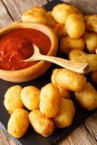 Homemade tater tots with tomato sauce close up. Vertical. Homemade tater tots with tomato sauce close up on the table. Vertical Stock Photos
