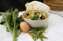 Homemade Thai style spicy vegetable with chicken soup Royalty Free Stock Images