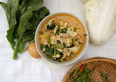 Homemade Thai style spicy vegetable with chicken soup Royalty Free Stock Photo