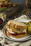 Homemade Thanksgiving Leftover Turkey Sandwich Royalty Free Stock Photos