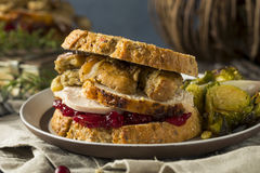 Homemade Thanksgiving Leftover Turkey Sandwich. With Stuffing and Cranberry Stock Photos