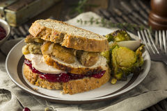 Homemade Thanksgiving Leftover Turkey Sandwich Stock Images
