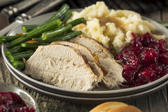 Homemade Thanksgiving Turkey Dinner. With All the Sides royalty free stock photo