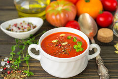 Homemade thick spicy vegetable soup Royalty Free Stock Image