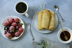 Homemade thin pancakes. For breakfast royalty free stock images