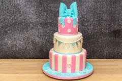3 Tier Birthday Cake Stock Photos