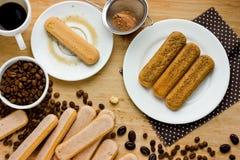 Homemade tiramisu cake. Ingredients for making Italian dessert Stock Photo