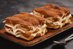 Homemade tiramisu cake, italian dessert. royalty free stock photography