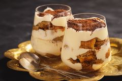 Homemade tiramisu cake, italian dessert. stock photography
