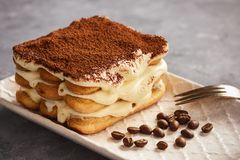 Homemade tiramisu cake, italian dessert. royalty free stock images