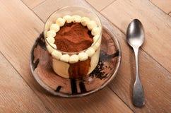 Homemade tiramisu dessert topped with cocoa powder Royalty Free Stock Images