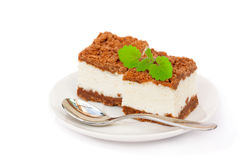 Homemade tiramisu on the  plate with spoon Royalty Free Stock Photo
