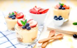 Homemade, exquisite dessert tiramisu in glasses decorated with strawberry, blueberry, mint on white wooden table Stock Images