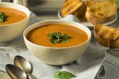 Homemade Tomato Basil Bisque Soup Stock Image