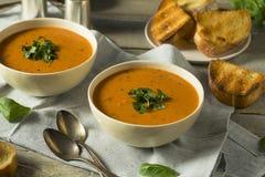 Homemade Tomato Basil Bisque Soup Royalty Free Stock Photos