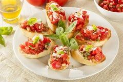 Homemade Tomato and Basil Bruschetta Stock Photography
