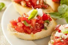 Homemade Tomato and Basil Bruschetta Stock Image