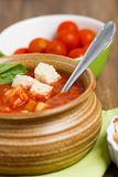 Homemade tomato soup. Detail shot on thick tomato soup with bread croutons stock photography