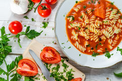 Homemade tomato soup and fresh vegetables Stock Images