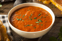 Homemade Tomato Soup with Grilled Cheese Stock Image