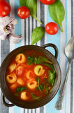Homemade Tortellini Soup with Tomato, Basil, and Spinach Royalty Free Stock Photo