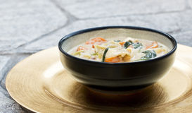 Homemade Tortellini Soup with Vegetables in a Bowl. On a Golden Plate Royalty Free Stock Photo