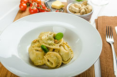 Homemade tortellini stuffed with spinach and garlic Stock Images