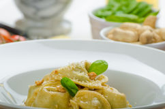 Homemade tortellini stuffed with spinach and garlic Royalty Free Stock Images