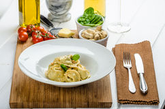 Homemade tortellini stuffed with spinach and garlic Stock Image