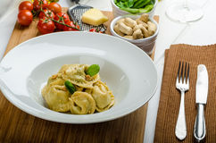Homemade tortellini stuffed with spinach and garlic Royalty Free Stock Photo