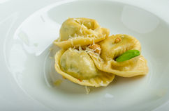 Homemade tortellini stuffed with spinach and garlic Royalty Free Stock Image