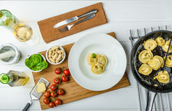 Homemade tortellini stuffed with spinach and garlic Royalty Free Stock Photos