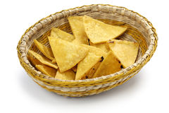 Homemade tortilla chips in basket Royalty Free Stock Photos