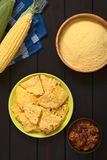 Homemade Tortilla Chips and Cornmeal Royalty Free Stock Photography