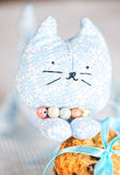 Homemade toy cat face and cookie Stock Photos