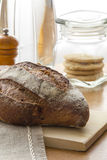 Homemade Tradition bread loaf on the kitchen table Royalty Free Stock Images