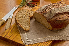 Homemade Tradition bread loaf on the kitchen table Royalty Free Stock Photo