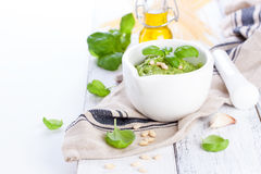 Homemade traditional basil pesto with olive oil, cedar nuts and garlic in a white bowl on a wooden rustic table Royalty Free Stock Photo