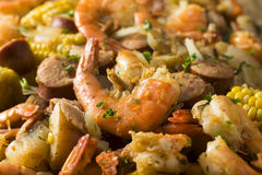 Homemade Traditional Cajun Shrimp Boil. With Sausage Potato and Corn royalty free stock photography