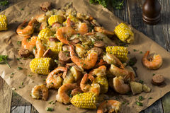 Homemade Traditional Cajun Shrimp Boil Royalty Free Stock Photos