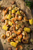 Homemade Traditional Cajun Shrimp Boil. With Sausage Potato and Corn Royalty Free Stock Images