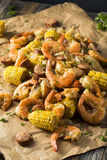 Homemade Traditional Cajun Shrimp Boil. With Sausage Potato and Corn Royalty Free Stock Photo