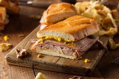 Homemade Traditional Cuban Sandwiches Stock Photos